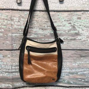 The Sak leather crossbody handbag block color
